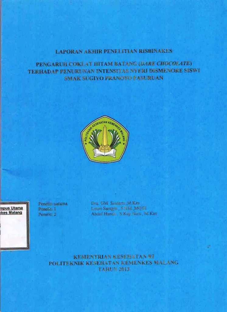 Pengaruh Coklat Hitam Batang terhadap Penurunan Intensitas Dismenore Siswi SMAK Sugiyo Pranoto Pasuruan